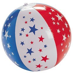 Set of 12 Inflatable Patriotic Star Red White Blue Beach Balls by Oriental Trading Company