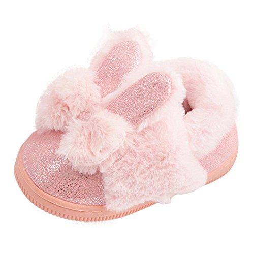 Fuibo Babyschuhe , Baby Leder Bowknot Gummi Soft Sole Schnee Stiefel Soft Krippe Schuhe Kleinkind Stiefel (23, Pink) (Baby-stiefel Gehäkelte)