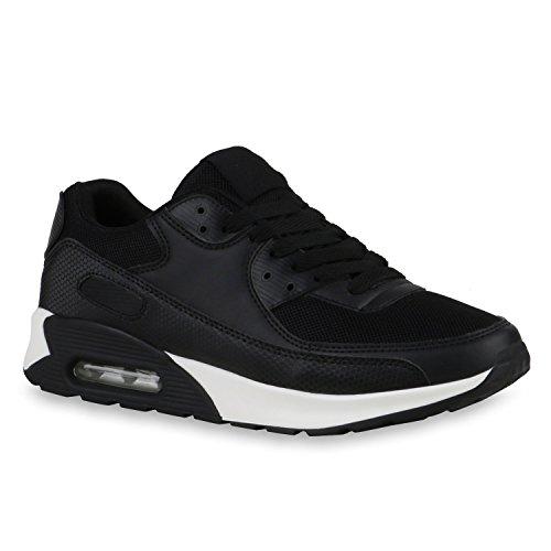 Trendige Unisex Lauf Damen Herren Kinder Sport Glitzer Camouflage Sneaker Bunt Schnür Sport Schuhe 117078 Schwarz-Weiss 45 Flandell