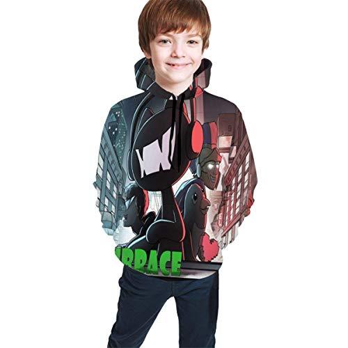 Hidend Kinder Kapuzenpullover Sweatshirt, Monstercat Logo Fit Teen Hooded Sweater Black