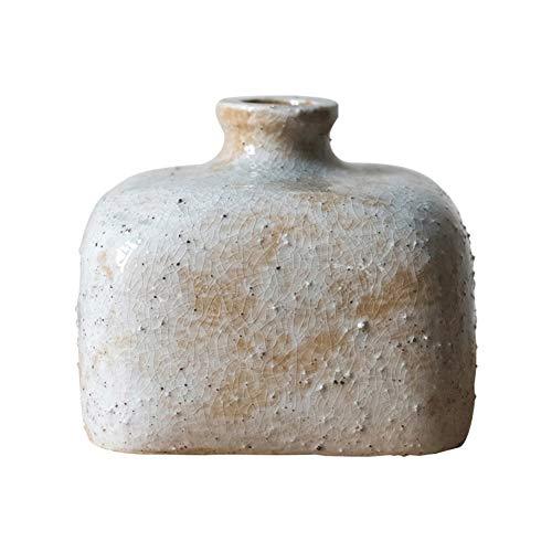 Antike Alte Steingut Topf Vase Blume Blumenschmuck Stil Chinesischen Stil Japanischen Stil Vase (Farbe : Weiß) ()