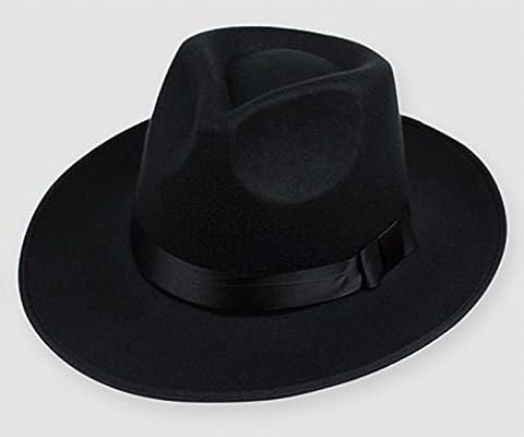 Hippie Unisex Männer Jazz Wool Trilby Bowler Fedora Panama Hut Gangster Kappe, schwarz (Männer Frauen Fedora)