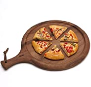 Pizza Plate Natural Antibacterial Acacia Wood Pizza Peel Cutting Board Serving Tray,Pizza Paddle Spatula Round