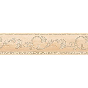 A.S. Création selbstklebende Bordüre Only Borders Borte klassisch floral 5,00 m x 0,13 m creme Made in Germany 895813 8958-13
