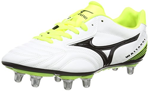 Mizuno Waitangi PS   Botas de Rugby, Color Blanco (White/Black/Yellow), Talla 40 1/2 EU (7 UK)