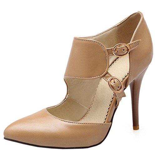 TAOFFEN Damen Elegant Stiletto Schuhe Spitze Toe Pumps Mit Schnalle Aprikose