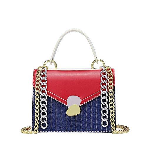 Unbekannt Frauen handtasche, tasche mode gestreifte pailletten kette handtasche umhängetasche umhängetasche (größe: 20 * 8 * 15 CM)-red
