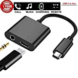 RAKSIG Type C Adapter, USB Type C to 3.5mm Audio Jack Headphone 2 in 1 Type C Splitter Adapter, Support for Charging Music Phone Call Remote Control (Silver)