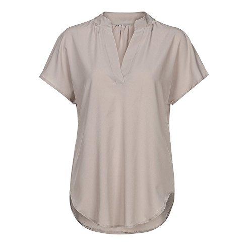 BHYDRY Frauen Langarm Knopf Bluse Pullover Tops Mit Taschen (EU-44/CN-XL, Kaki-pp)