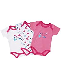 "Jacky Baby - Mädchen Body kurzarm 3er-Pack ""funny fishes"" rosa 151675"