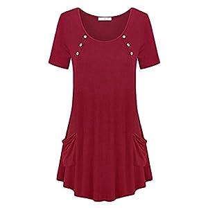 Juleya Frauen Kleider, Frauen Sommer Sexy Kurzarm Lange Shirts mit Taschen Vintage Einfarbig Asymmetrische Hem Tunika Kleid Lässig Abend Party Kleid Strand Sommerkleid