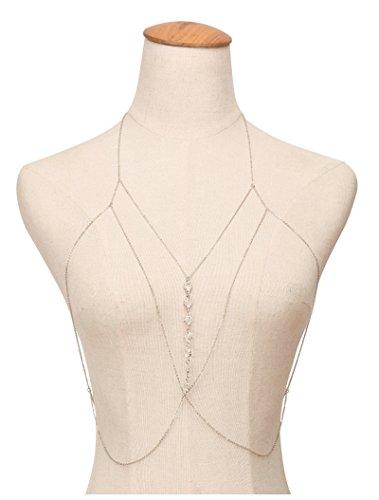 Bishiling Mode Sexy Strand Körperkette für Damen mit Kristall Strand Bikini Bauchkette Silber Kette (Blätter Mit Camper Auf Sie)