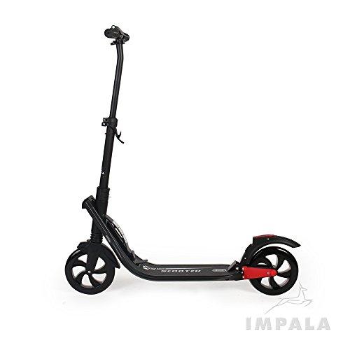 Impala Scooters Patinete de Lujo para Adultos, Moto de Gran Movilidad, Suspensión Plegable, Color Blanco y Negro (IM5), Negro