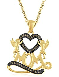 """Silvernshine 1.35 Ct Citrine Mom Heart Pendant 18"""" Chain Necklace In 14K Yellow Gold Fn"""