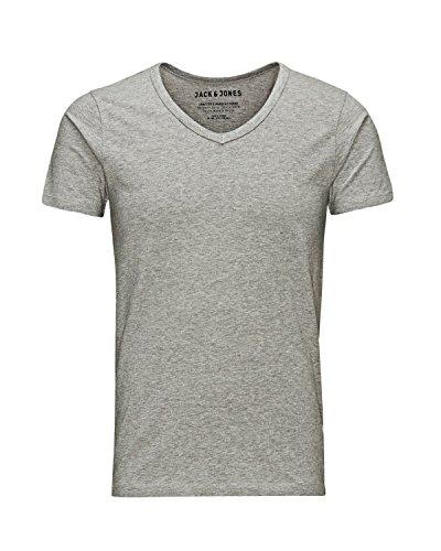 JACK & JONES Herren T-Shirt Basic 4er PACK O-Neck V-Neck Tee S M L XL XXL (XL, 4er V-NECK grau)