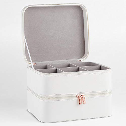 Beautify Mallette de rangement à maquillage en similicuir blanc — Valise à 2 niveaux avec compartiment et séparateurs amovibles — Pour bijoux, maquillage, brosses, produits cosmétiques et autres