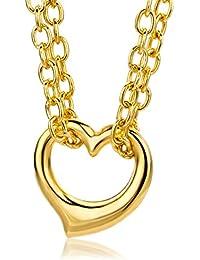Miore Damen-Halsband 9 Karat 375 Gelbgold Anhänger Herz 43cm Doppel
