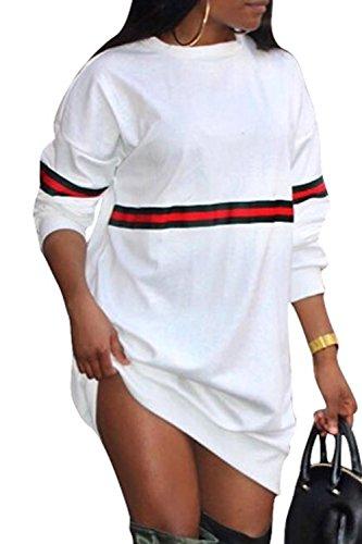 Le Donne Inverno Occasionale A Maniche Lunghe Pullover Vestiario Felpa Alto Vestito White