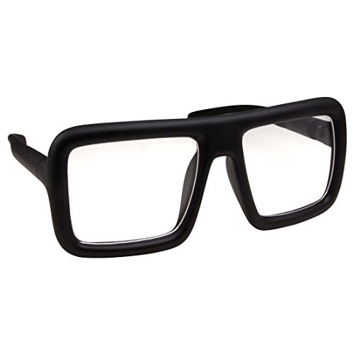 grinderPUNCH Thick Square Frame Clear Lens Glasses Eyeglasses Super Oversized Fashion and Costume - Matte Black