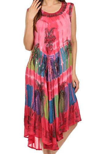 Sakkas 10SE Tasanee Kaftan-Behälter-Kleid/Vertuschung - Coral - One Size -