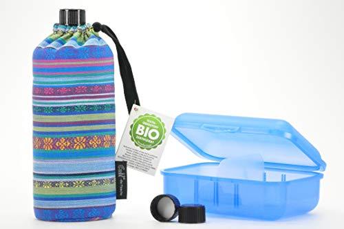 Trinkflaschenset aus 1 Emil die Flasche 0,6l + kompatibles Deckel Set + Brotdose von Blueraccoon Bio Aztek Brotdose blau