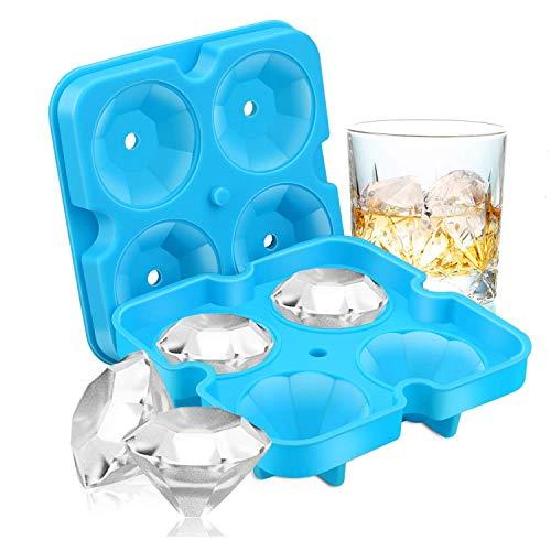 James Fashion-Ice Würfel-Schalen, Diamantform, lustige Eiswürfelform, BPA-Silikon, flexibel, zum Kühlen von Whisky-Cocktails (schwarz) blau
