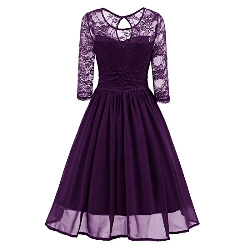 Vintage Lace Evening Party Dresses For Women,Moonuy Ladies Girl Trench NewestFormal Patchwork Wedding Swing Dress Fashion Casual Skirt Work Three Quarter Sleeve,xmas gifts for women (Purple, XL)