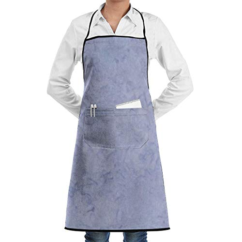 Drempad Schürzen Light Periwinkle Adjustable Bib Apron with Pockets - Commercial Restaurant and Home Kitchen Apron - Neck Strap- Extra Long Ties - Strong Black (Periwinkle Kostüm)