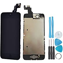LL TRADER LCD Display Touch Screen Digitizer Glass Lens Full Assembly Repair Replacement for iPhone 5c Black (includes Small Parts like Camera, Sensor Flex, Shield Plate)