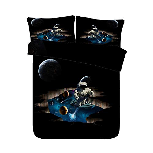 Galaxy Weltraum Astronaut 3 Stück Blue Galaxy Kinder Jungen Bettwäsche Set mit 2 Kissen Shams Stern Universum Bettbezug Planet Tagesdecke Home Decor (Farbe : Astronaut Bed Set, größe : Cal King)