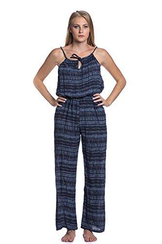 Abbino 80351 Jumpsuit Gestreift Damen - Made in Italy - 8 Farben - Fashion Damenjumpsuits Frühjahr Sommer Herbst Sale Festlich Sexy Feminin Regular Fit Elegant Freizeit Viskose - One size Marine Blau