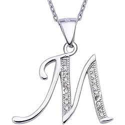VIKI LYNN Sterling Silber 925 Kette Halskette mit Silber und Zircon Buchstabe Alphabet M Anhaenger