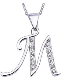 VIKI LYNN Sterling Silber 925 Kette Halskette mit Buchstabe Alphabet Anhaenger