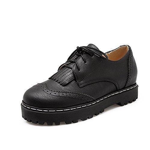 VogueZone009 Femme Matière Souple Rond à Talon Bas Lacet Couleur Unie Chaussures Légeres Noir
