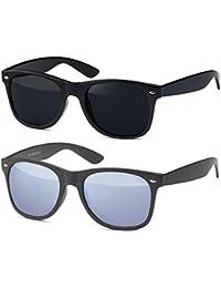 Vintage Sonnenbrille Retro Nerd Wayfarer Brille Unisex für Damen und Herren