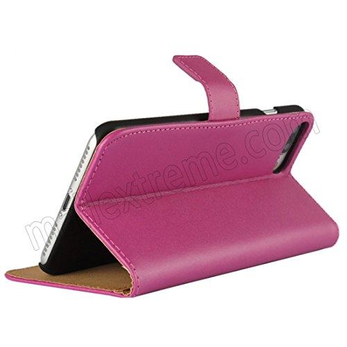 AMO® New différentes couleurs Portefeuille en cuir véritable étui livre avec support Coque pour iPhone 44G 5G 5C 66PLUS, Cuir, rose, 6G