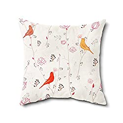 Cushion Cover | Bird Print Cushion Cover With Filler | Poly Cotton Cushion Cover For Kids Room Dcor- 1 Piece ( 12 x 12 Inch)