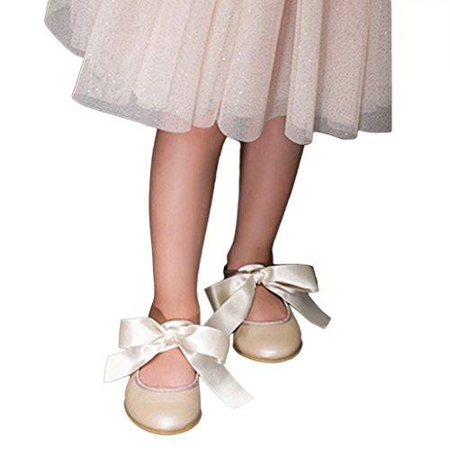 Pettigirl Filles Nœud Papillonles chaussons de danse Champagne