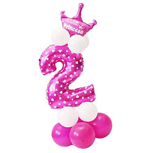 Sharplace Ballon Zahl 0-9 in Rosa - Folienballons und Latexballons als Mädchen Geschenk Geburtstag Party Dekoration - Nummer - Geschenk Party Geburtstag Mädchen