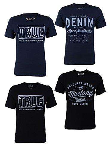 Mustang 4er Pack Herren T-Shirt mit Frontprint und Rundhalsausschnitt - Farbmix Blau und Schwarz, Größe:XL, Farbe:Farbmix (P6)