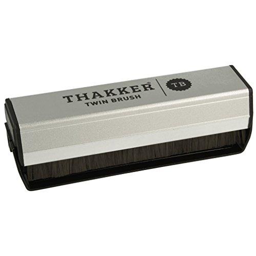 Thakker Twin Brush Cepillo Anti-Estatico de Fibras Carbono & Terciopelo para Discos de Vinilo