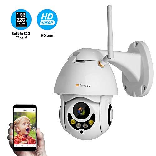 Jennov PTZ IP Überwachungskamera 1080P Wireless Dome Kamera 265° schwenkbar 90° neigbar 4-Fach Zoom Einweg-Audio 30m IR Nachtsicht IP66 wasserdicht APP Fernzugriff mit 32GB TF-Karte für Innen Außen (Outdoor Hd-webcam)