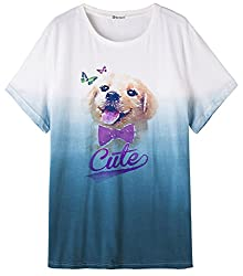 So'each Women's Animal Cute Dog Art Blue Dip-Dyed Top Graphic Tee T-Shirt