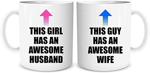 O1FHW-8 Set of 2 Mugs Funny Couples Mug Set Awesome Husband Awesome Wife Birthday Present Funny Wedding Gift Friend Novelty Gifts Gifts for Him Gifts for Her Banter 11oz, Set of 2