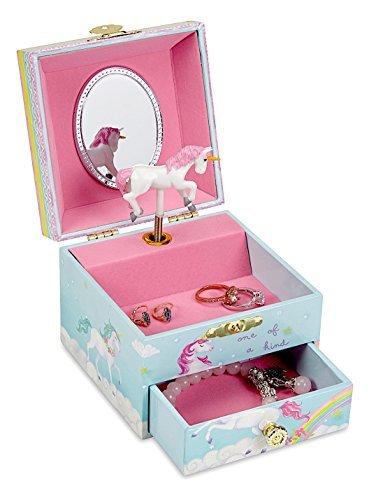 JewelKeeper Caja Infantil de Música con Unicornio y Arco Iris, Equipada de Cajón de Almacenamiento - Melodía Over The Rainbow