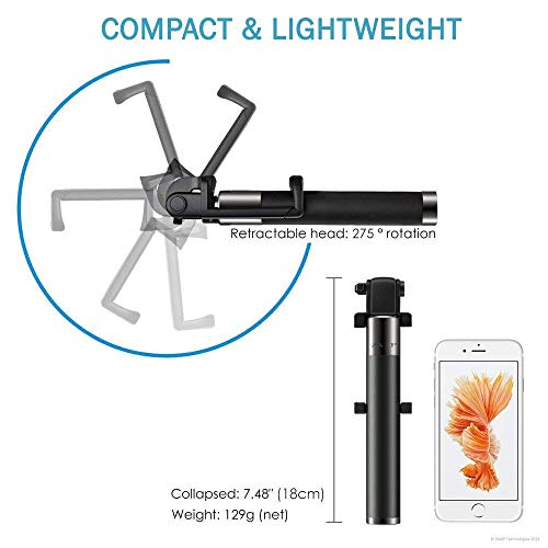YCNEX Compact Wired Monopod Extendable Selfie Stick with AUX Wire Built-in Remote Pocket Size Sefie Stick for All iPhone/Samsung/Oppo/Vivo/Xiaomi Redmi & All Smartphones