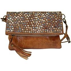 Bolso de mujer de piel, vintage artesanal de cuero con remache (marron natural)