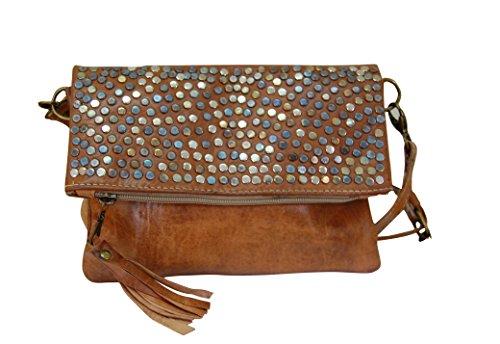 ea8cfb796 Bolso de mujer de piel, vintage artesanal de cuero con remache (marron  natural)