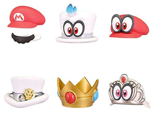 Set 6 Cappelli BOTTLE CAPS Collection da SUPER MARIO Odyssey Hats - 100% UFFICIALI Nintendo TOMY