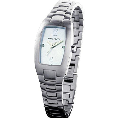 Time Force Tf2964l02m Reloj Analogico Para Mujer Caja De Acero Inoxidable Esfera Color Plateado